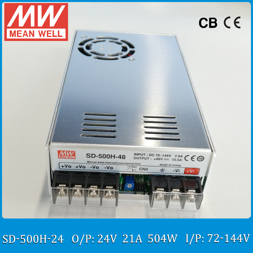 Original MEAN WELL SD-500H-24 24V isolated converter Input 72~144VDC to 24V 500W 21A meanwell dc dc converter wide 2:1 input dc dc converter 12v to 24v 5amax 120w for cars non isolated