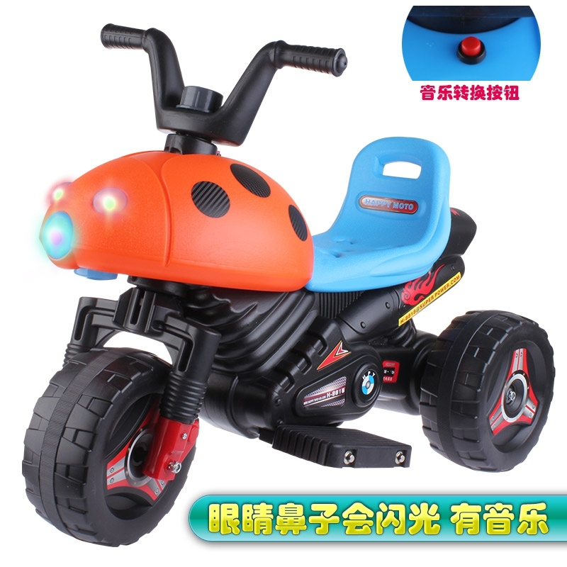 The new Children's electric car tricycle motorcycle baby toy car wheel car battery charging wide stroller can take people
