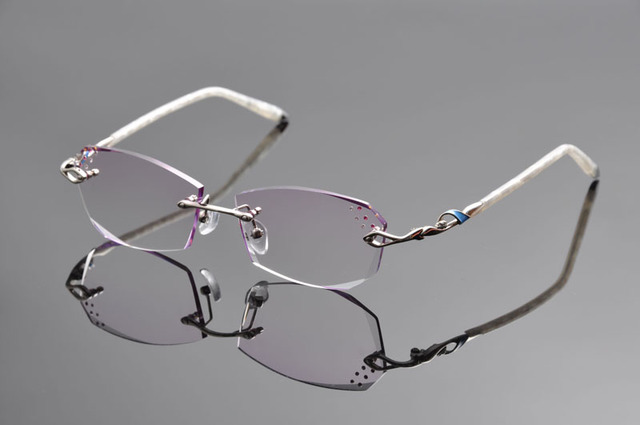 210368e3b7 DeDing Women Titanium Alloy Flexible Rimless Frame Prescription Eyeglasses  1.61index anti blue rays purple lens