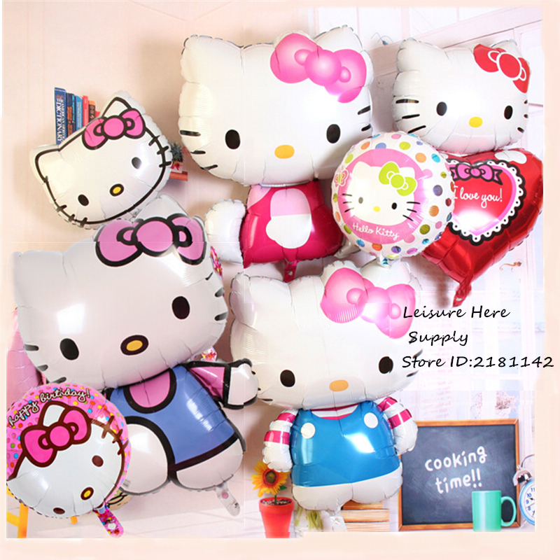 Hello Kitty Air Balloon Heart Kitty Cat Balloons Cartoon KT For Children Kids Birthday Theme Party Decoration Toys Gift