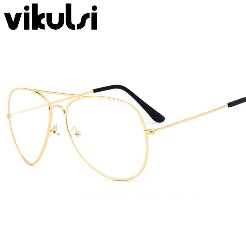 Classic Glasses Men Women Clear Lens Glasses Clear Metal Spectacle ...