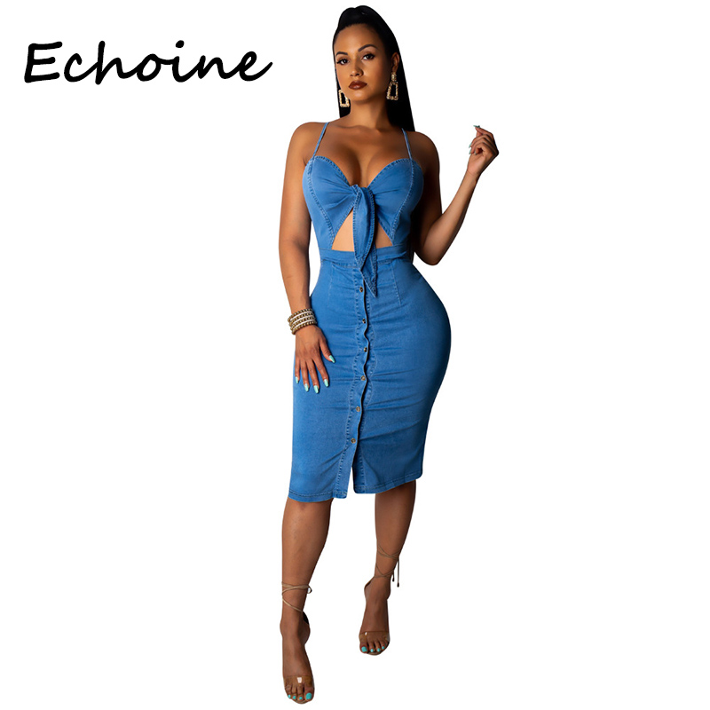 Echoine Cowboy <font><b>Dress</b></font> Cut Out Spaghetti Straps Front Tie Backless Pale <font><b>Blue</b></font> Color Jeans <font><b>Bodycon</b></font> <font><b>Dress</b></font> Summer <font><b>Dress</b></font> 2019 image