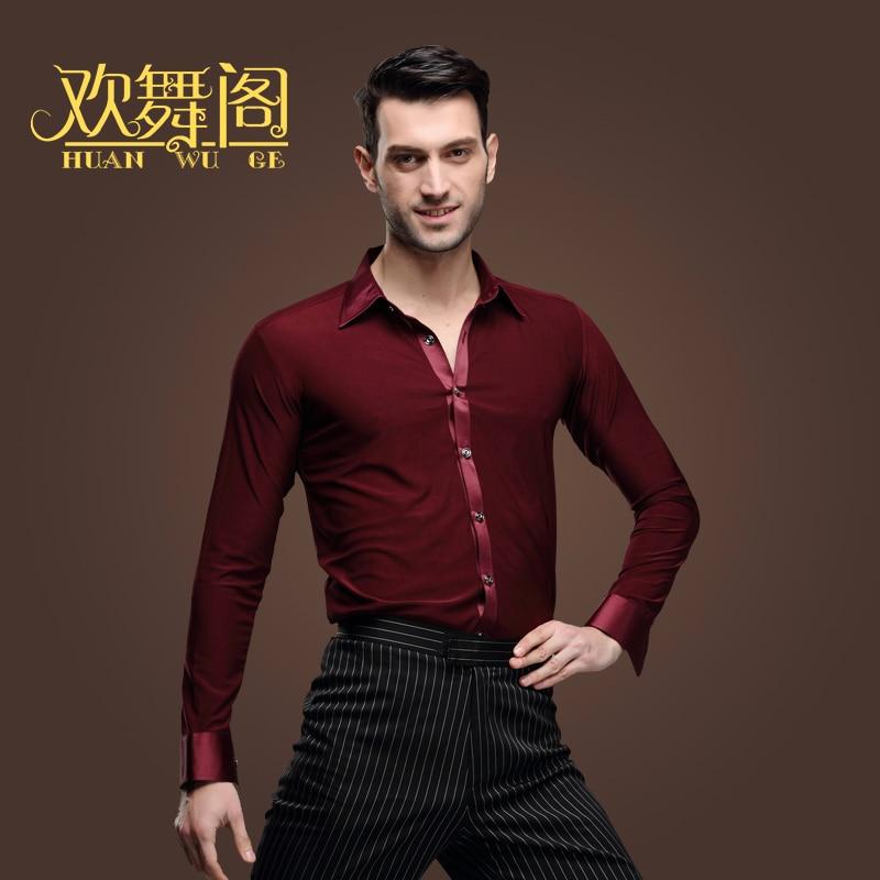 Nya latinska dansskjortor Manliga vuxna kläder Square Dance Top Modern Rumba Cha Cha Samba Tango Salsa Dance Shirt vinröd, blå