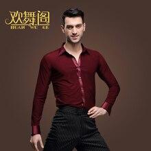 New Latin Dance Shirts Male Adult Clothing Square Dance Top Modern Rumba Cha Cha Samba Tango Salsa Dance Shirt wine red ,blue