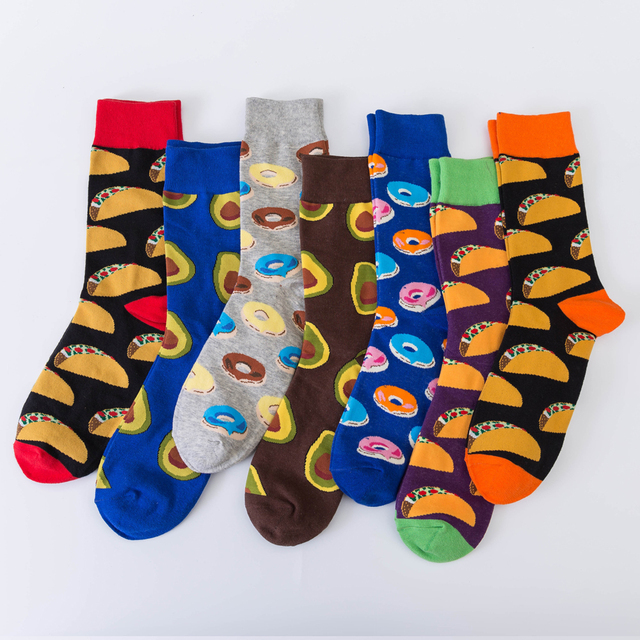 Jhouson 1 pair Hot sale Men's Combed cotton Colorful Socks Donut Pattern Casual Dress Wedding Socks Fashion Skateboard Socks 1