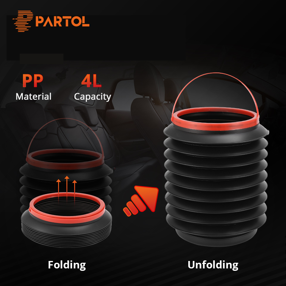 Partol 4L Car Folding Bucket Collapsible Water Fishing Bucket Camping Outdoor Auto Garbage Plastic Bucket Storage Box ContainerPartol 4L Car Folding Bucket Collapsible Water Fishing Bucket Camping Outdoor Auto Garbage Plastic Bucket Storage Box Container