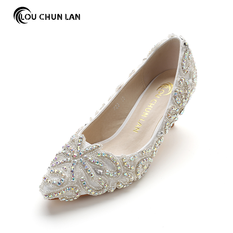 Crystal High Heel formal dress Shoes Thin Heels Shoes pointed Toe Bridal Shoes Wedding Shoes White Women Pumps 9cm Free Shipping white lace embroider women shoes slip on high heels glaze surface metal thin heel pumps female wedding dress shoes pointed toe