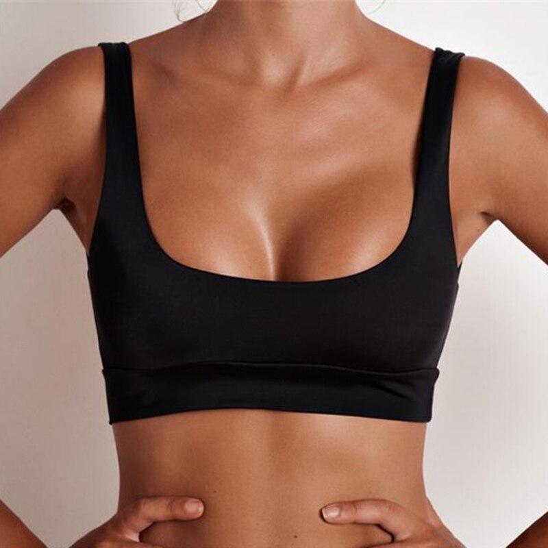 حار بيع مثير الرياضة البرازيلي بيكيني الأعلى ملابس خاصة بلون ملابس السباحة 2017 سترة نمط البوليستر الأسود المايوه
