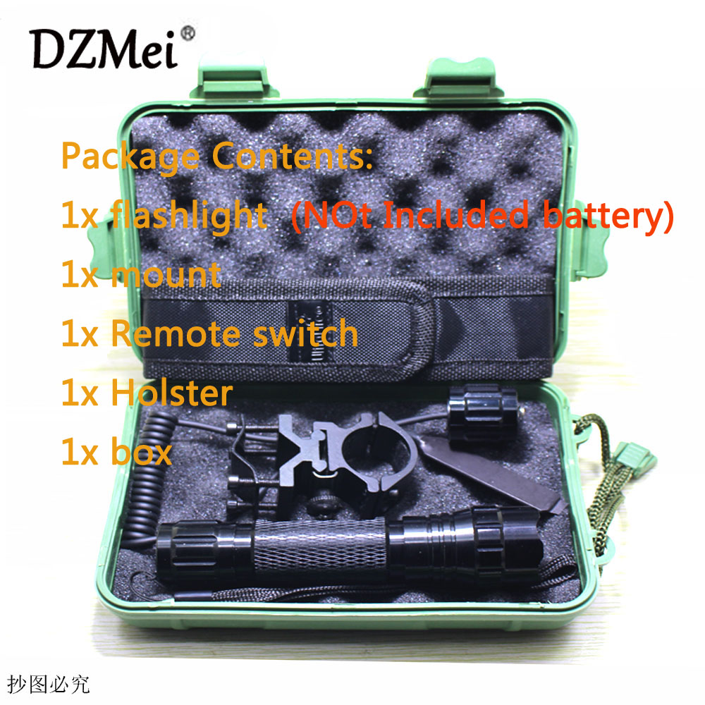 501B Cree XM-L2 T6 led light Tactical Flashlight Hunting Torch lighting Shot flashlight +mount+Remote switch+Holster+box led tactical flashlight 501b cree xm l2 t6 torch hunting rifle light led night light lighting 18650 battery charger box