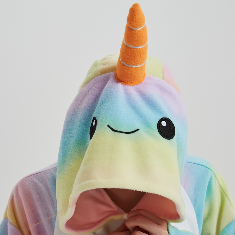 Nice Whale Onesies Pajamas Rainbow Polar Fleece Adult Kigurumi For Halloween Costume Animal One-piece Jumpsuit Cosplay Suit  (1)