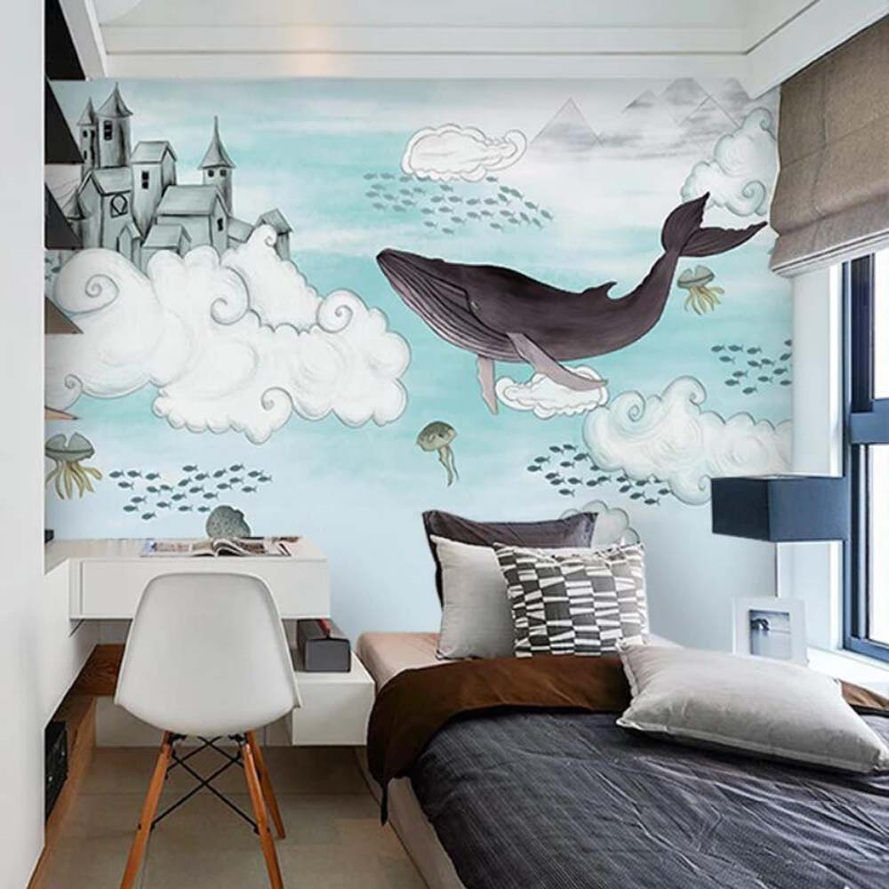 Us 9 99 50 Off 3d Whale Kids Bedroom Carton Wallpaper Murals For Tv Background Wall Decor Textured Mural Hd Printed Photo Wall Paper Rolls In