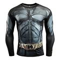 2017 Men Bodybuilding Crossfit  long T-shirt Compression Superman Clothing Tight Tees Gymshark MMA Rashguard Sportswear