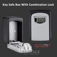 Key Storage Organizer กล่อง 4 หลักติดผนังรหัสผ่านคีย์ Hook Organizer กล่องโลหะขนาดเล็ก Secret ปลอดภัยกล่อง