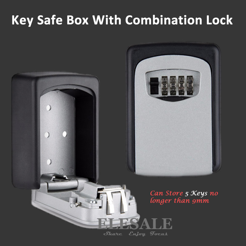 Key Storage Organizer Boxes With 4 Digit Wall Mounted Combination Password Keys Hook Organizer Boxes Small Metal Secret Safe Box