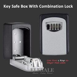 Schlüssel Lagerung Organizer Boxen mit 4 Digit Wand Montiert Kombination Passwort Tasten Haken Organizer Boxen Kleine Metall Geheimnis Safe