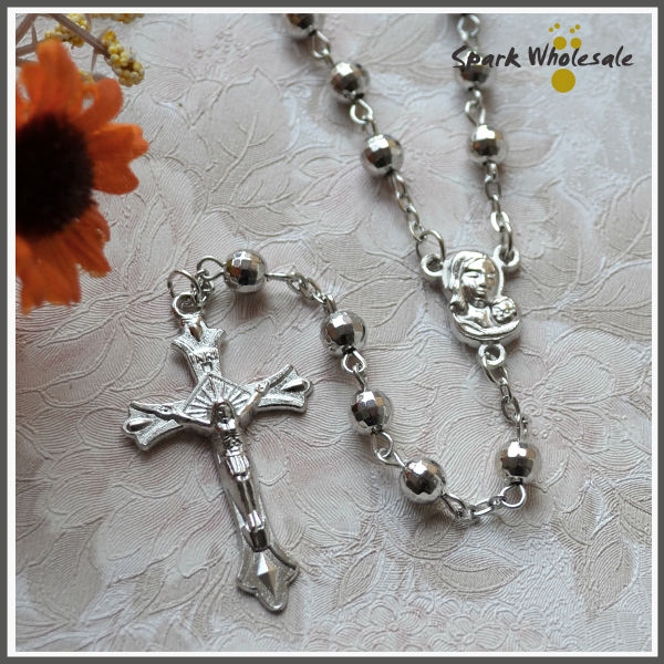 US $9 25 10% OFF|Cheap Religious Gifts Catholic CCB Plastic Rosary Necklace  Catholic Jesus Cross Pendant Fatima Centerpiece Rosary Necklace-in Chain