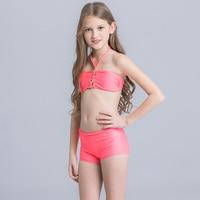 Nowe Dzieci Strój Kąpielowy Bikini Swimwear Jednolity Styl Wysokiej Talii Sportowe Piękne Dziewczyny Halter Bikini Set dziecka Plaży Nosić Z Pant