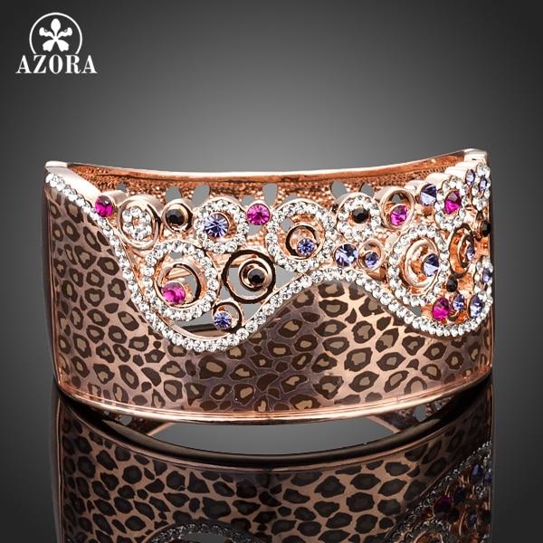 AZORA Captivating Rose Gold Color Colorful Stellux Austrian Crystals Cuff Bangle Bracelet TB0044