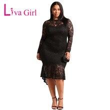 Liva Girl Long Sleeve Plus Size Dress Autumn Women Lace Bodycon Dress Big  Size Elegant Party Dresses XXXL Vestidos De Festa b9452e871bb1