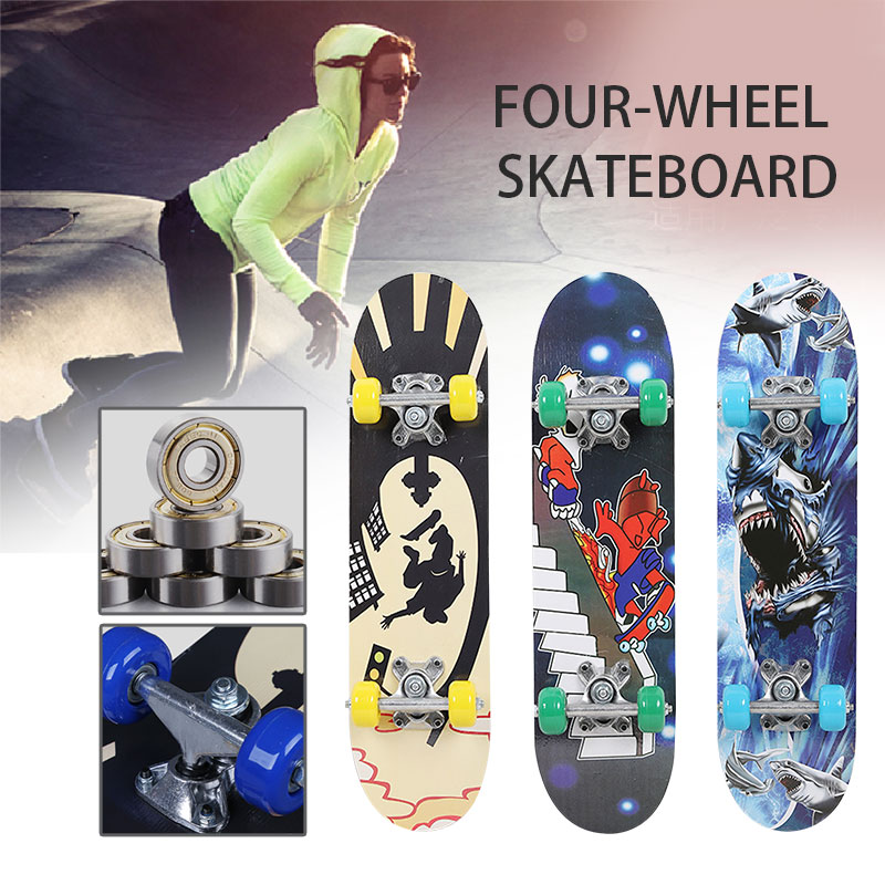60CM Four-wheel Skateboard For Kids Adult Maple Wood Skateboarding Print Scooter Longboard Outdoor Sports Children Skateboards