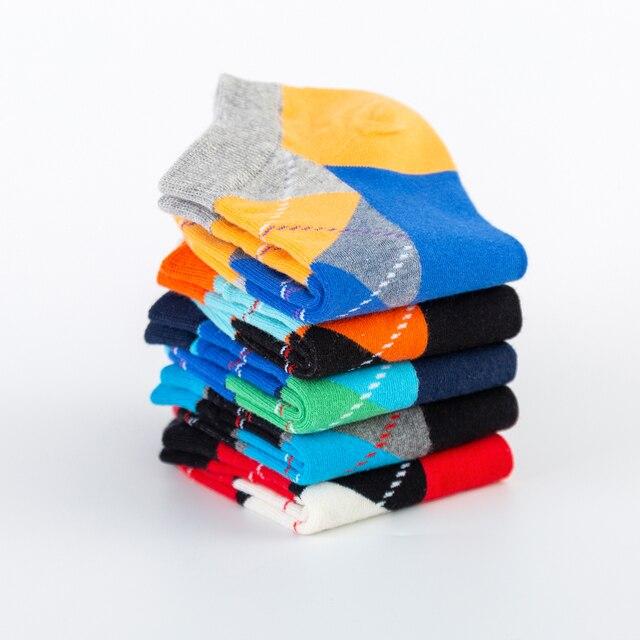 Men's Casual Novelty Colorful Summer Funny Ankle Socks Happy Combed Cotton Short Socks Diamond Dress Boat Socks 5