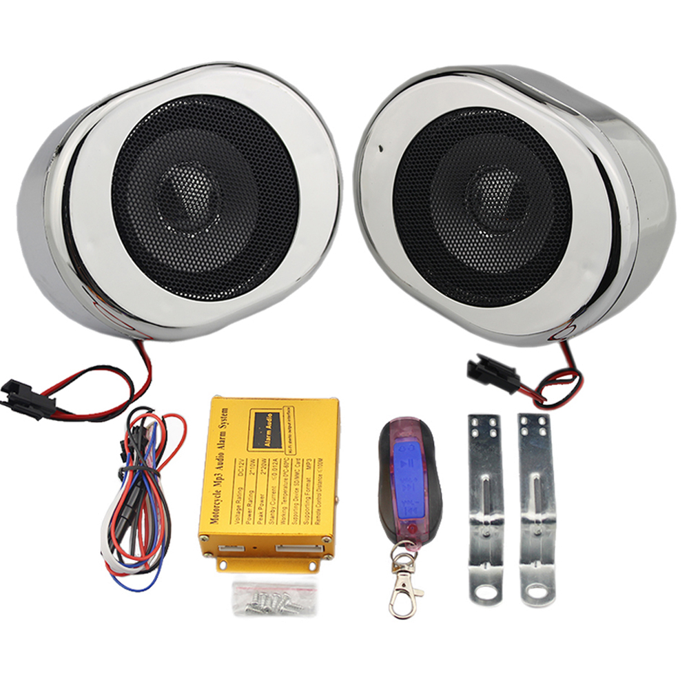 Universal Silver Motorcycle Loudspeakers Handlebar Audio System Motorbike Scooter Alarm Speakers Theft Protection FM Radio Mp3