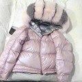 2019 зимняя куртка женская пуховая парка блестящая куртка с натуральным лисьим меховым воротником теплое свободное пуховое пальто белая пух...