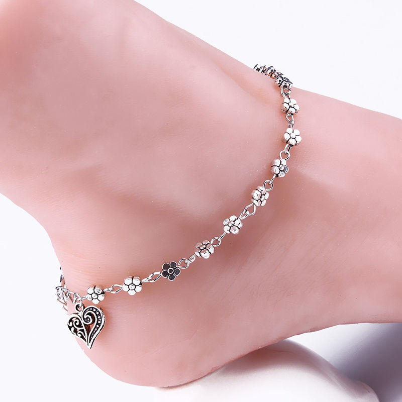 Heart Female Anklets Barefoot Crochet Sandals Foot Jewelry Leg New Anklets On Foot Ankle Bracelets For Women Leg Chain
