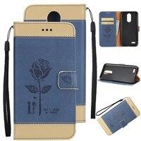 For LG K4 K8 K10 2017 Leather Case Luxury Rose Flower Flip Stand Wallet Case For