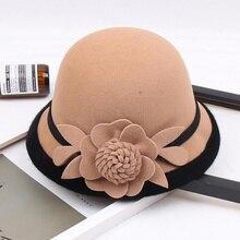 Новинка, Зимняя женская Шерстяная кепка с цветочным принтом, шляпы, фетровые шляпы в винтажном стиле в западном стиле, 10 цветов, теплые женские шапки-котелки H3