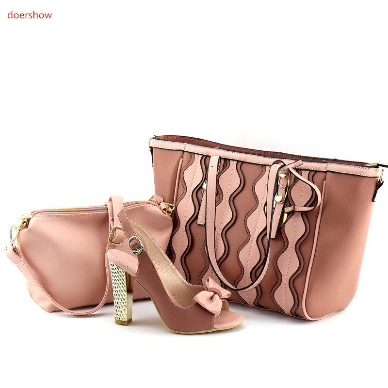 doershow New Arrival pink Shoes and Bag Sets for Women Italian Ladies Shoes and Bags To Match Set Matching Bags UL1-5 beautiful italian shoes with matching bags to match new african shoes and matching bag sets for wedding doershow hvb1 49