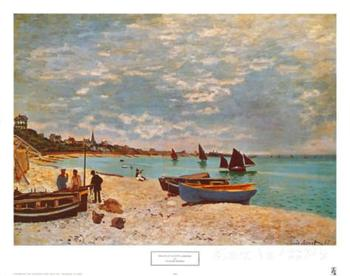 Gift custom Landscape Painting Beach at Sainte Adresse by Claude Monet High Quality Hand painted