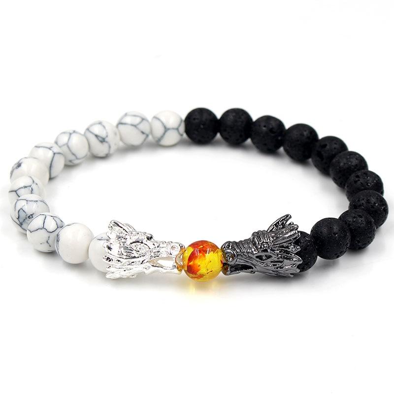 Natural Black Lava & White Howlite Stone Beads Bracelet Pulseira Masculina Mens Jewelry Buddha Dragon Bead Bracelet For Women 1