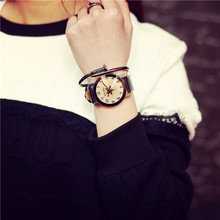 Men's Women's Personality Circular Dial Leather Quartz Lovers Watch