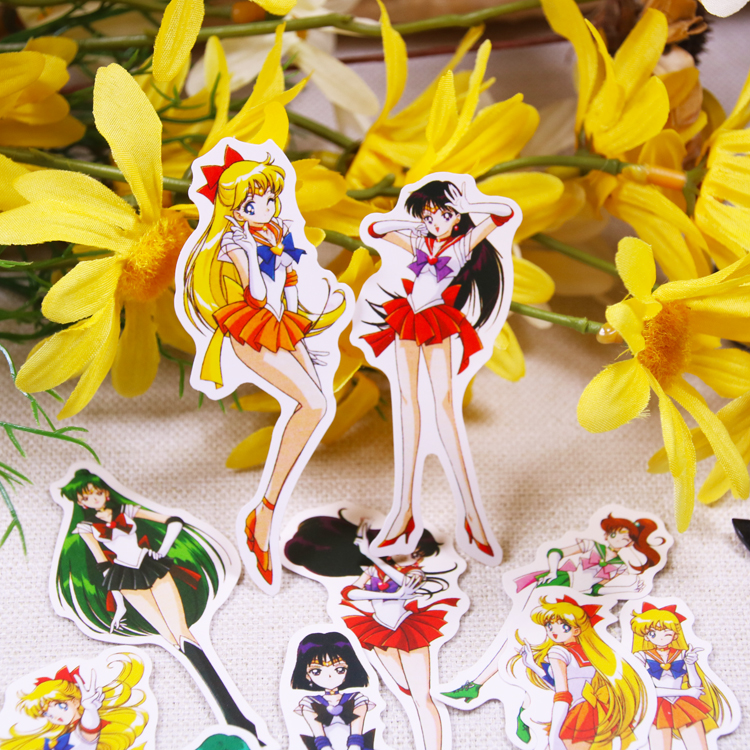 14pc/pack Cartoon Sailor Moon Lovely Anime Girl Cute Girls Decoration Stationery Sticker Diy Ablum Diary Scrapbooking Stationery