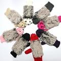 2017 New Hedgehog Gloves Women Winter Warmer Knitted Crochet Wrist Cartoon Mittens Erinaceus Fur Gifts S1559