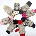 2017 Novas Luvas Das Mulheres Inverno Quente Malha Crochet Luvas de Pulso Dos Desenhos Animados do Ouriço Erinaceus Pele Presentes S1559