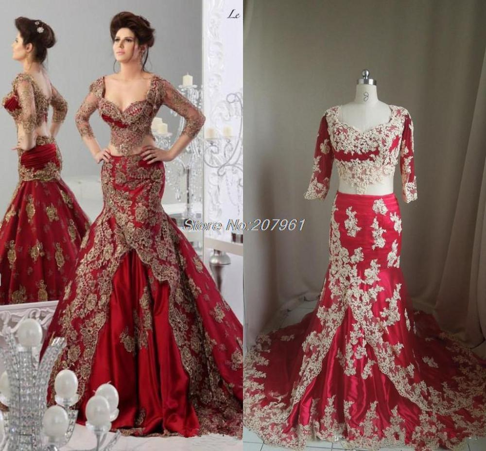 Sexy Red Formal Mermaid Wedding Dresses 2016 Arabic Jajja Couture Appliques V Neck Vestidos Bridal Gowns 3 4 Long Sleeve LC61 In From