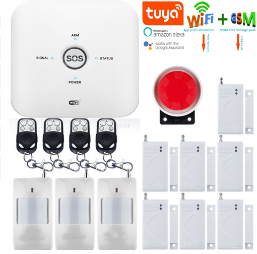 Yobang Security Tuya APP Control Wifi GSM Home Security Burglar Alarm System Video IP Camera Smoke Fire Detector Support ALEXAYobang Security Tuya APP Control Wifi GSM Home Security Burglar Alarm System Video IP Camera Smoke Fire Detector Support ALEXA