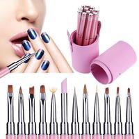 12 Unids Pro Nail Art Plumas del Cepillo Rhinestone de Acrílico 3D Ventilador de Piso cabeza Gel Esmalte de Uñas Consejos Imagen de la Flor Pintura Dibujo Liner Pens