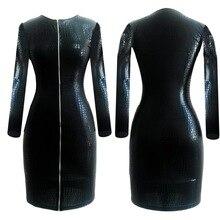 Плюс Размеры сексуальное платье клуба Женская одежда черный змеиной Искусственная кожа молния Bodycon BBW 2016 Лето, Новое бинты карандаш платье