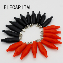 20pcs/lot 45MM Metal Alligator Clip G98 Crocodile Electrical Clamp for Testing Probe Meter Black and Red with Plastic Boot