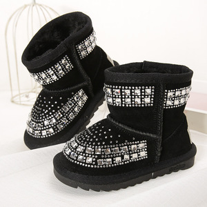 Image 3 - Toddler Baby Girls Winter Snow Boots Kids Leather Bling Bling Shoes Reihnstone Footwear Ankle Princess Botas Black Pink Purple