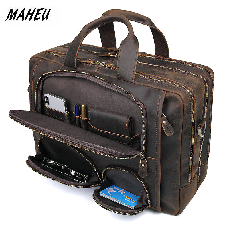 MAHEU Vintage Leather Mens Briefcase With Pockets Cowhide Bag On Business Suitcase Crazy Horse Leather Laptop