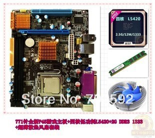Brand New G41 motherboard COM dual core E5420/L5420 CPU 2.5G DDR3 + 4G de memória + fã 4 em 1