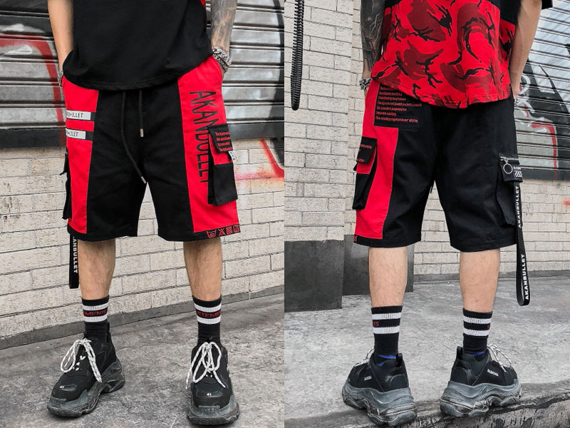 Side Ribbon Zipper Pockets Cargo Baggy Shorts 3