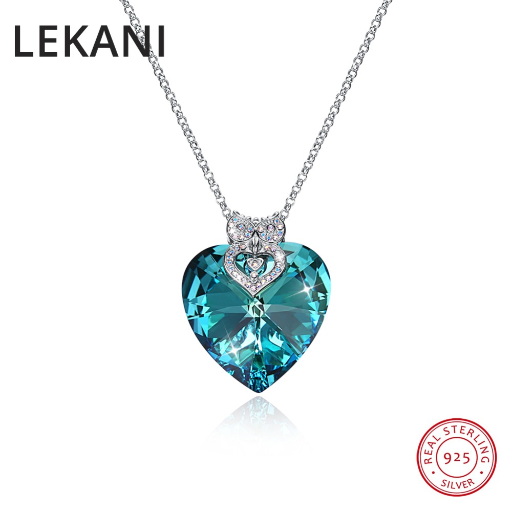 LEKANI Luxury Fashion Max Heart Pendant Necklace Crystals From Swarovski 925 Silver Long Chain Colares For Women Fine JewelryLEKANI Luxury Fashion Max Heart Pendant Necklace Crystals From Swarovski 925 Silver Long Chain Colares For Women Fine Jewelry