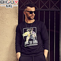 4XL 5XL 6XL Oversized T shirt Print Casual Long Sleeve Mens Tee Shirts Fashion 2016 Autumn Cotton Mens Clothing 1124Txu