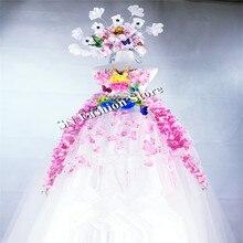 Cc17 Костюмы для бальных танцев Танцы костюмы певица Носит Женские платья Party Bar сценический костюм цветок Sext принцессы бюстгальтер Подиум костюм KTV