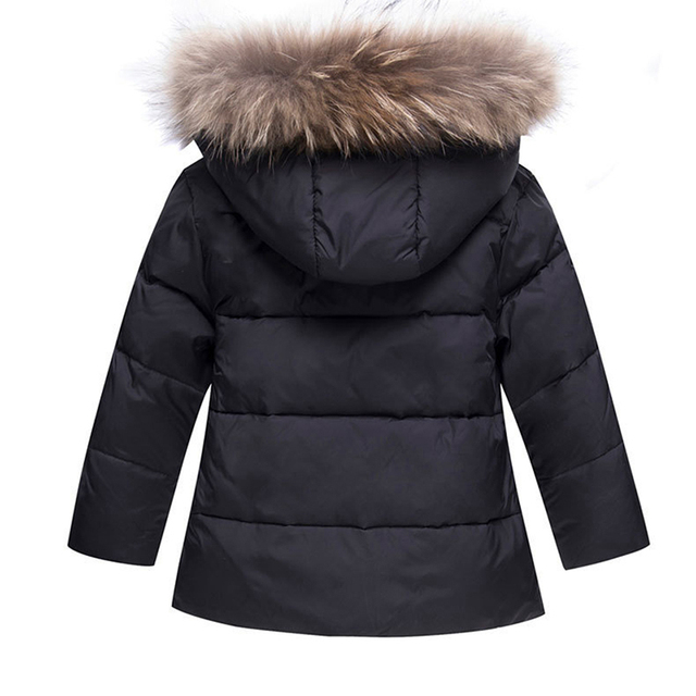 2018 New Winter Baby Boys Girls Duck Down Snowsuits Jacket Children Fur Parkas Ski Set Russia -30 Degrees Kids Clothes Overalls